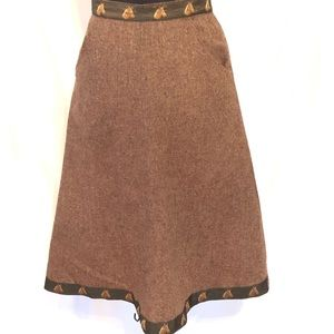 Horse Lovers Tweed Wrap Brown Skirt Small Vintage